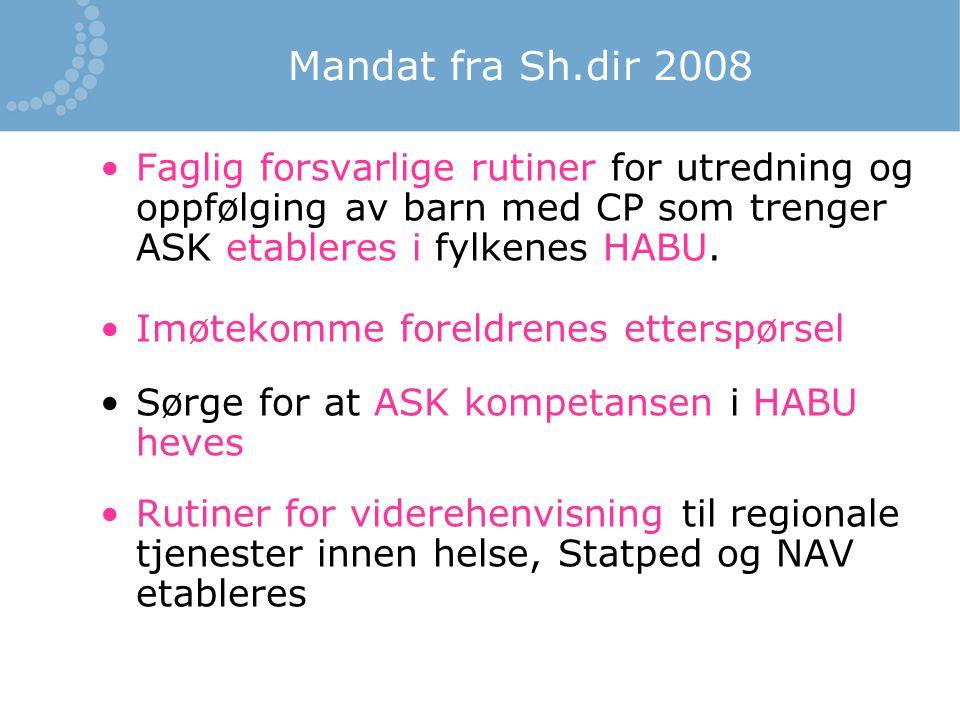 Mandat fra Sh.dir 2008 Faglig forsvarlige rutiner for utredning og oppfølging av barn med CP som trenger ASK etableres i fylkenes HABU. Imøtekomme for