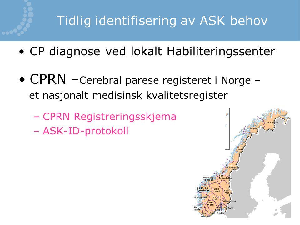 Tidlig identifisering av ASK behov CP diagnose ved lokalt Habiliteringssenter CPRN – Cerebral parese registeret i Norge – et nasjonalt medisinsk kvali