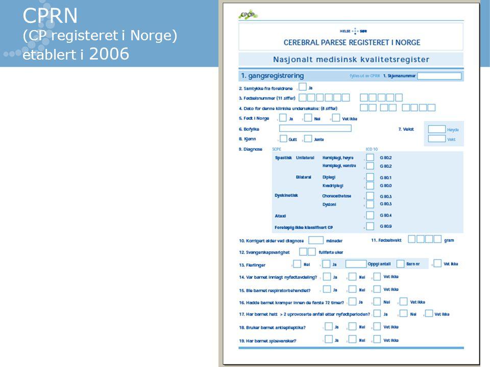 CPRN (CP registeret i Norge) etablert i 2006