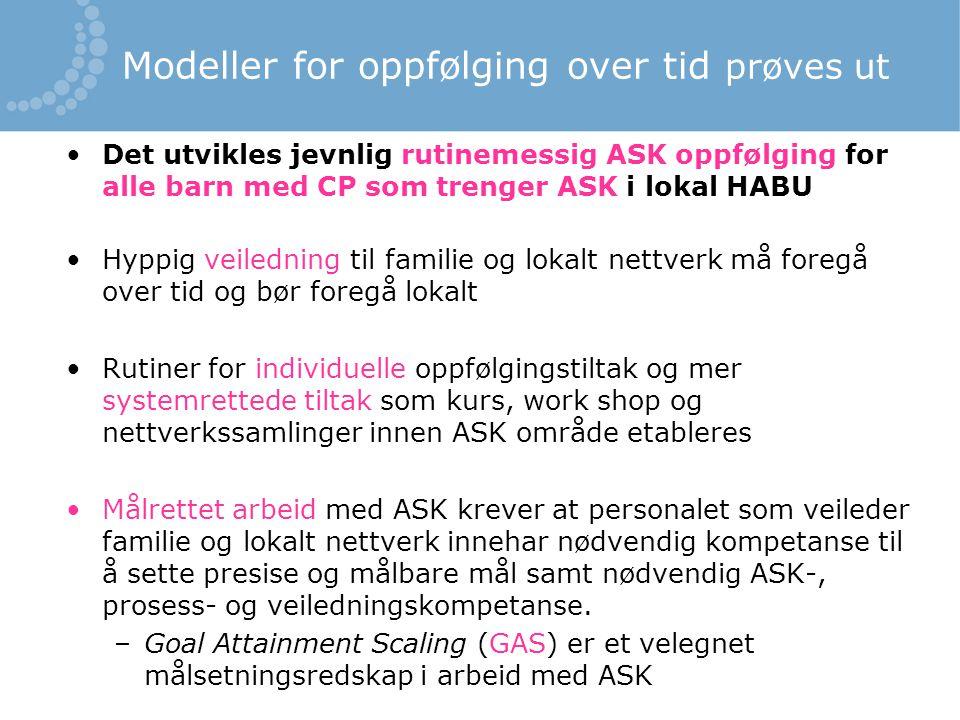 Modeller for oppfølging over tid prøves ut Det utvikles jevnlig rutinemessig ASK oppfølging for alle barn med CP som trenger ASK i lokal HABU Hyppig v