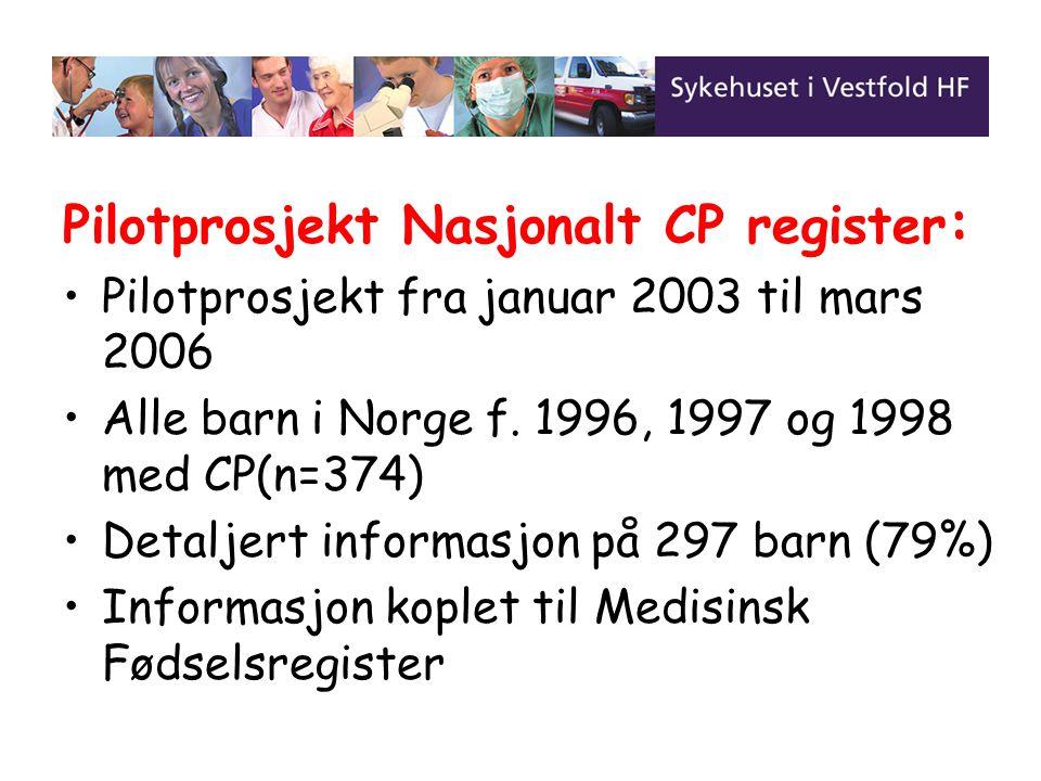 Pilotprosjekt Nasjonalt CP register : Pilotprosjekt fra januar 2003 til mars 2006 Alle barn i Norge f. 1996, 1997 og 1998 med CP(n=374) Detaljert info