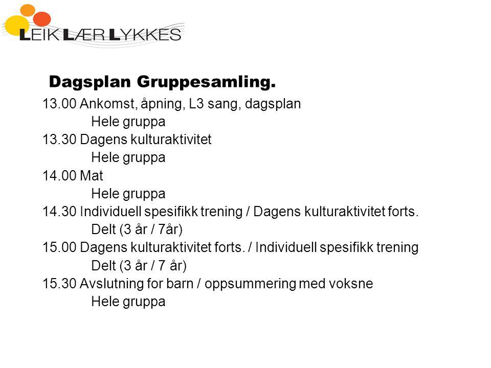 Dagsplan Gruppesamling.