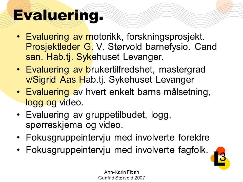 Ann-Karin Floan Gunfrid Størvold 2007 Evaluering. Evaluering av motorikk, forskningsprosjekt. Prosjektleder G. V. Størvold barnefysio. Cand san. Hab.t