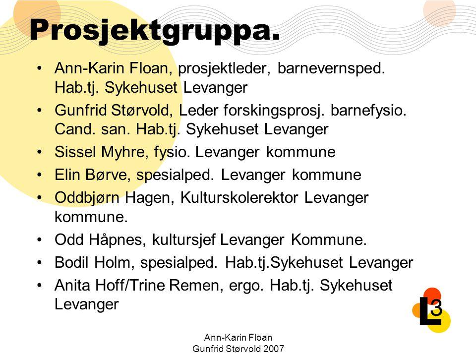 Ann-Karin Floan Gunfrid Størvold 2007 Målemetoder: KroppsfunksjonStrategiAktivitetDeltakelse ROM 3D ganganalyse AHA 3D ganganalyse GAS GMFM Finmotorikk PEDI GAS PEDI