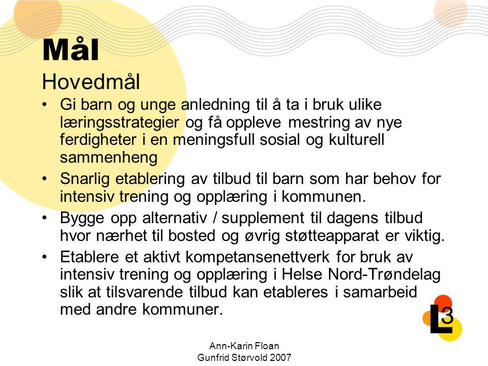 Ann-Karin Floan Gunfrid Størvold 2007 Mål Hovedmål Gi barn og unge anledning til å ta i bruk ulike læringsstrategier og få oppleve mestring av nye fer