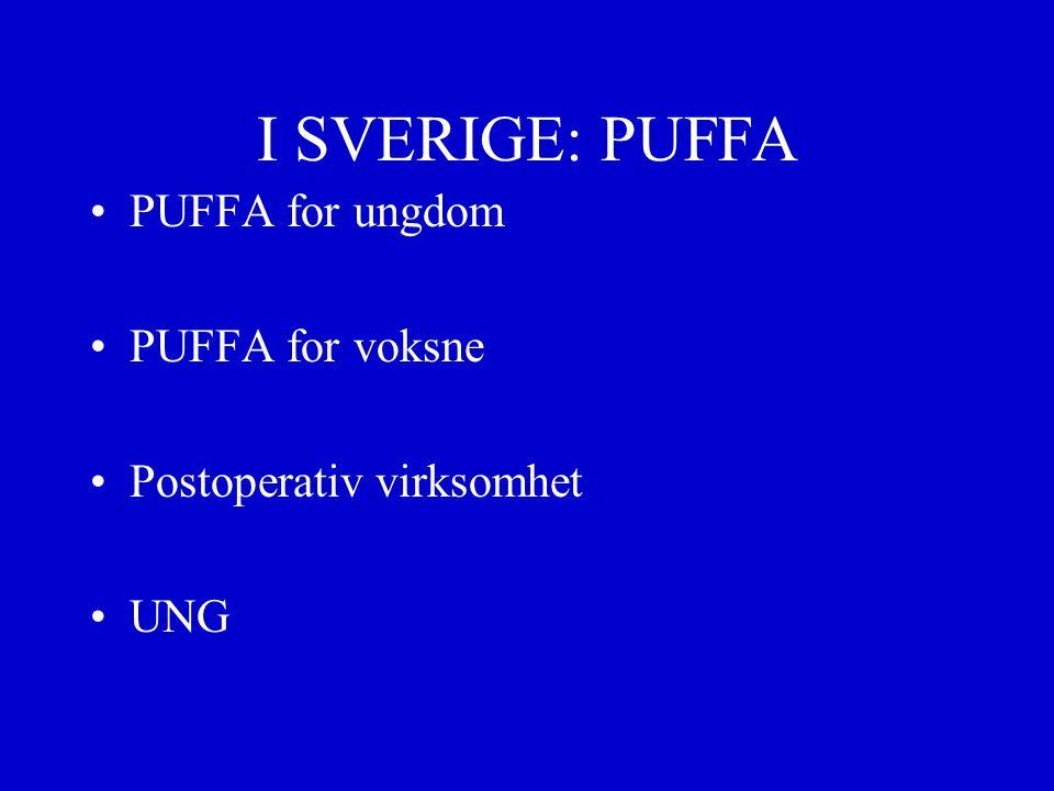 I SVERIGE: PUFFA PUFFA for ungdom PUFFA for voksne Postoperativ virksomhet UNG