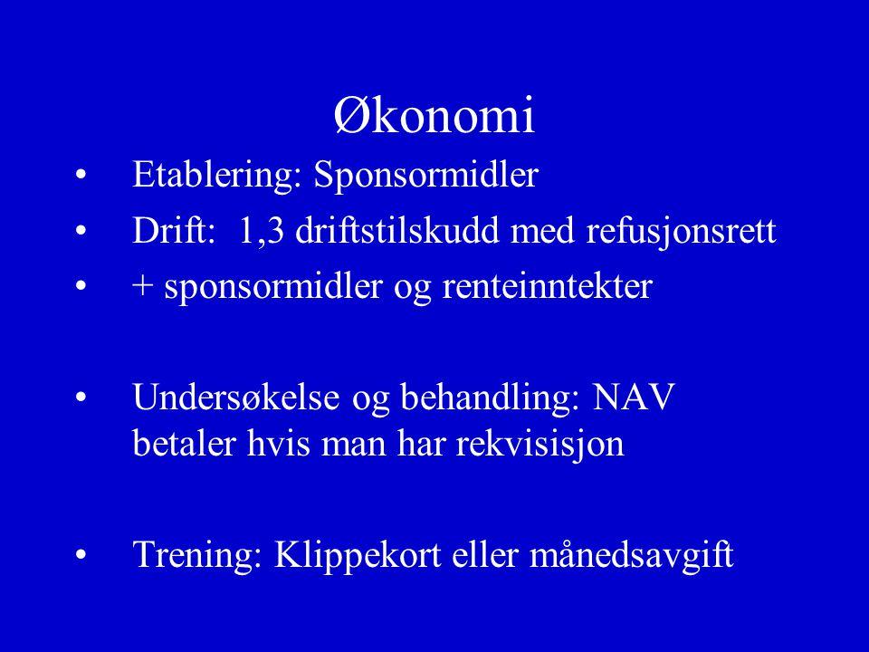 Økonomi Etablering: Sponsormidler Drift: 1,3 driftstilskudd med refusjonsrett + sponsormidler og renteinntekter Undersøkelse og behandling: NAV betale