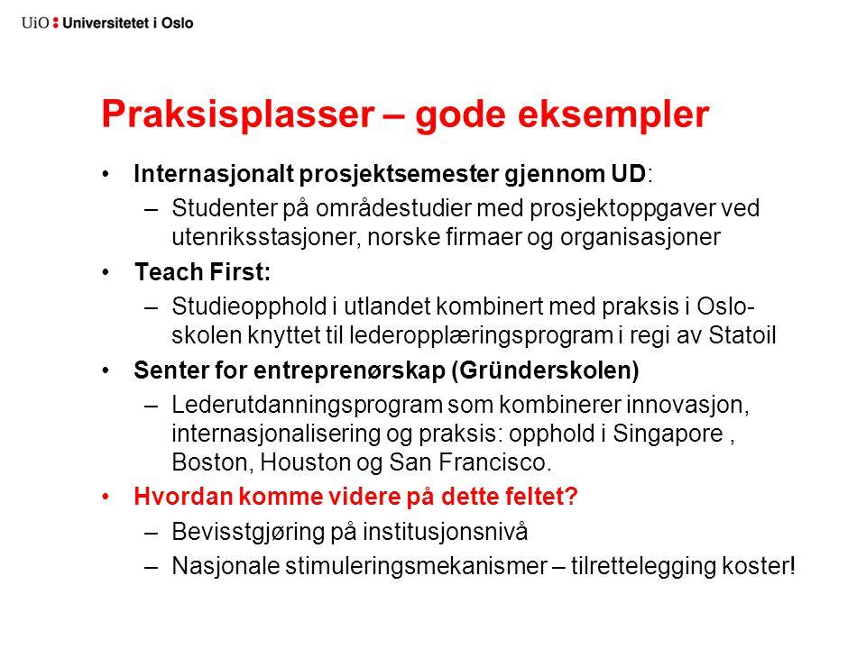 Praksisplasser – gode eksempler Internasjonalt prosjektsemester gjennom UD: –Studenter på områdestudier med prosjektoppgaver ved utenriksstasjoner, no