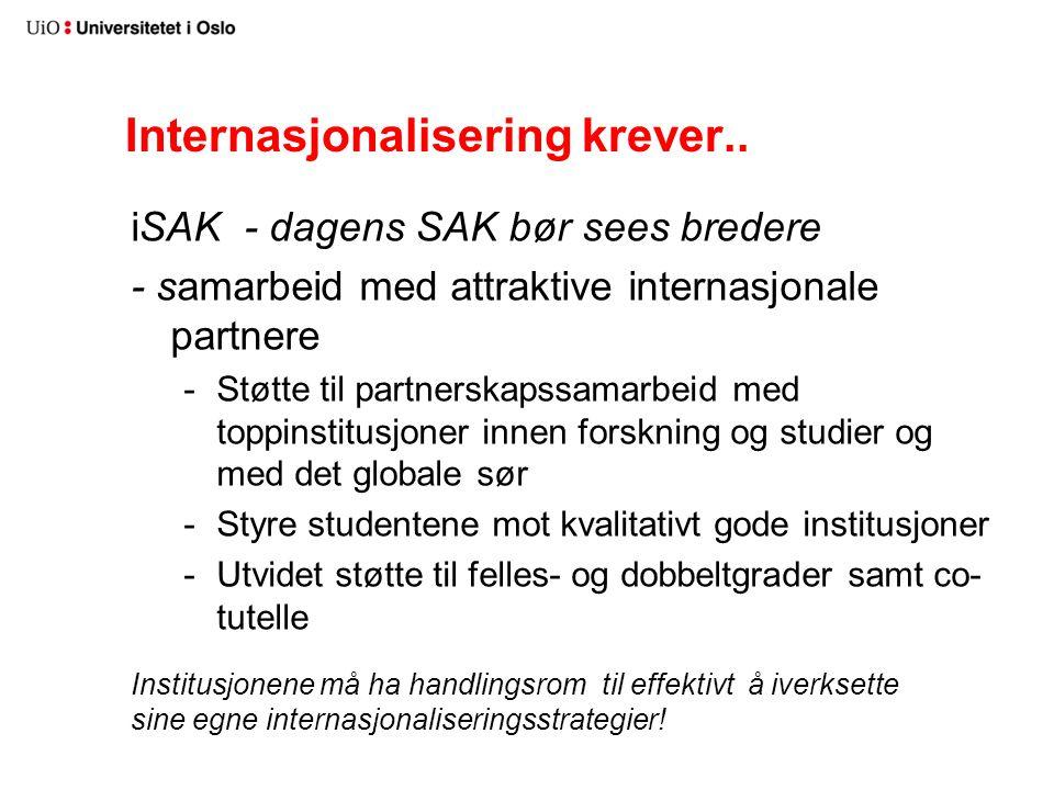Internasjonalisering krever.. iSAK - dagens SAK bør sees bredere - samarbeid med attraktive internasjonale partnere -Støtte til partnerskapssamarbeid