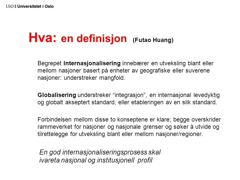 Hva: en definisjon (Futao Huang) Begrepet Internasjonalisering innebærer en utveksling blant eller mellom nasjoner basert på enheter av geografiske el