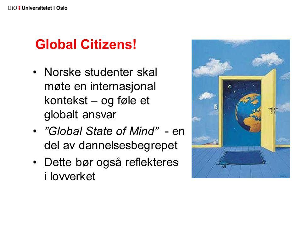 """Global Citizens! Norske studenter skal møte en internasjonal kontekst – og føle et globalt ansvar """"Global State of Mind"""" - en del av dannelsesbegrepet"""