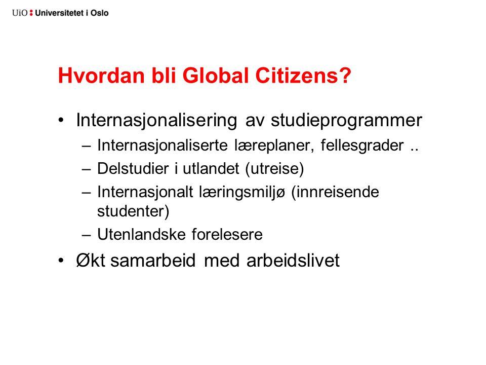 Hvordan bli Global Citizens? Internasjonalisering av studieprogrammer –Internasjonaliserte læreplaner, fellesgrader.. –Delstudier i utlandet (utreise)