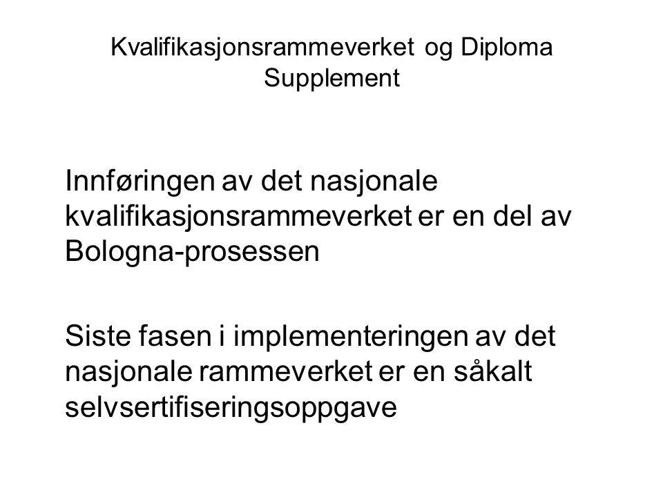 Kvalifikasjonsrammeverket og Diploma Supplement Innføringen av det nasjonale kvalifikasjonsrammeverket er en del av Bologna-prosessen Siste fasen i im