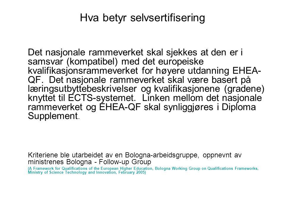 Hva betyr selvsertifisering Det nasjonale rammeverket skal sjekkes at den er i samsvar (kompatibel) med det europeiske kvalifikasjonsrammeverket for h