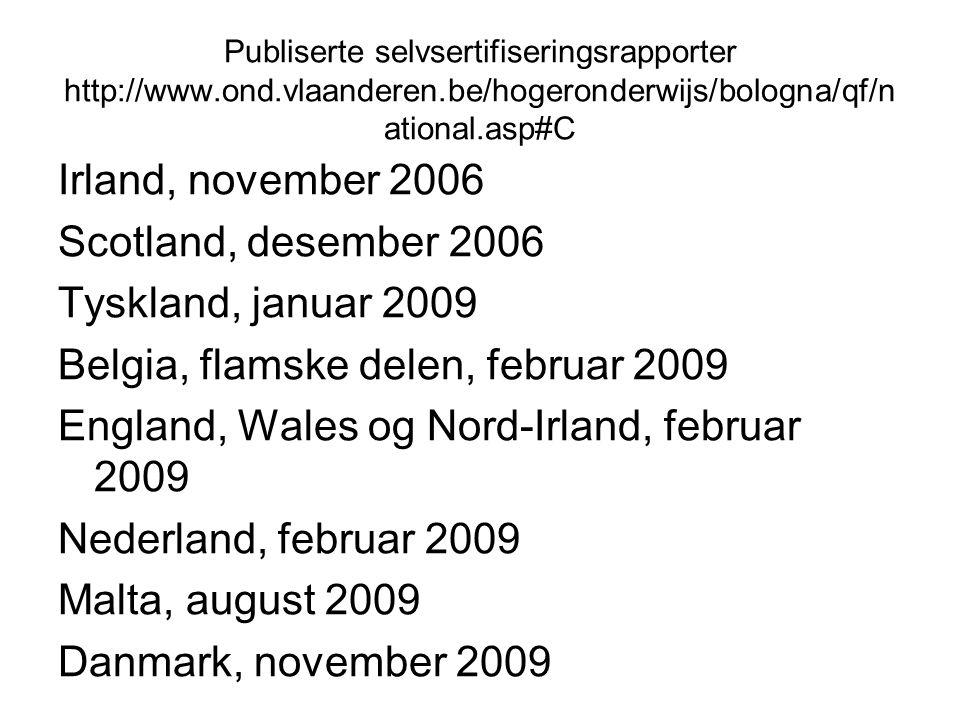 Publiserte selvsertifiseringsrapporter http://www.ond.vlaanderen.be/hogeronderwijs/bologna/qf/n ational.asp#C Irland, november 2006 Scotland, desember