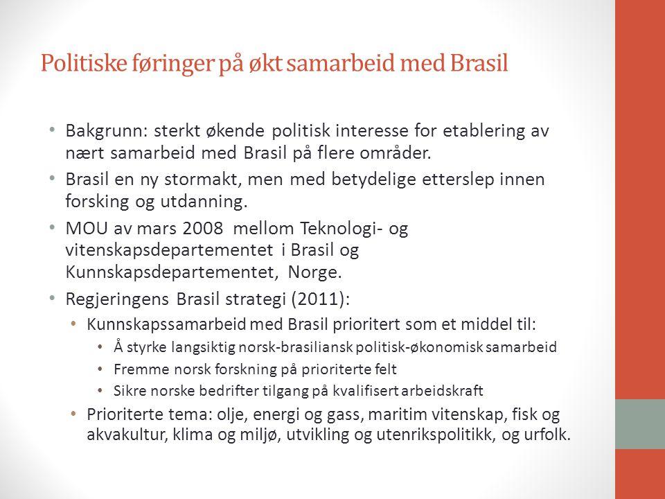 Politiske føringer på økt samarbeid med Brasil Bakgrunn: sterkt økende politisk interesse for etablering av nært samarbeid med Brasil på flere områder.