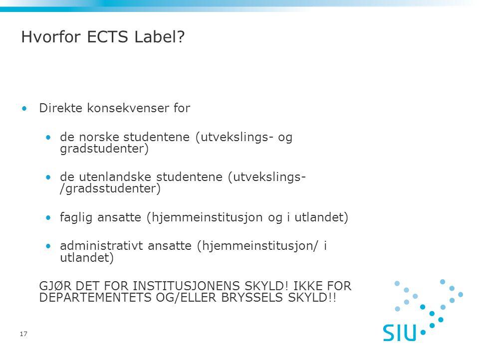 Hvorfor ECTS Label.