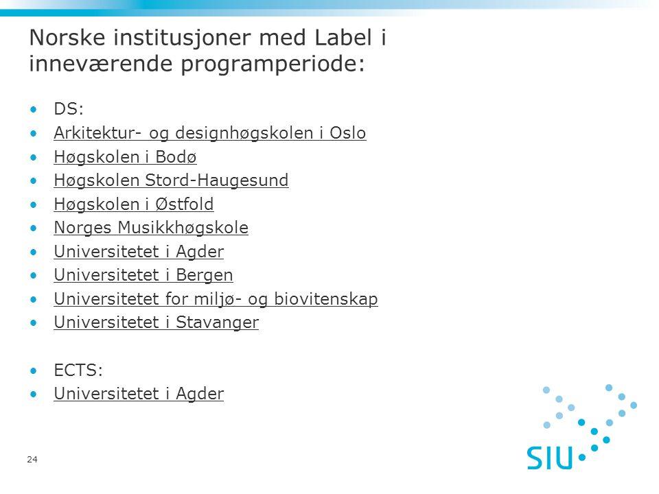Norske institusjoner med Label i inneværende programperiode: DS: Arkitektur- og designhøgskolen i Oslo Høgskolen i Bodø Høgskolen Stord-Haugesund Høgs