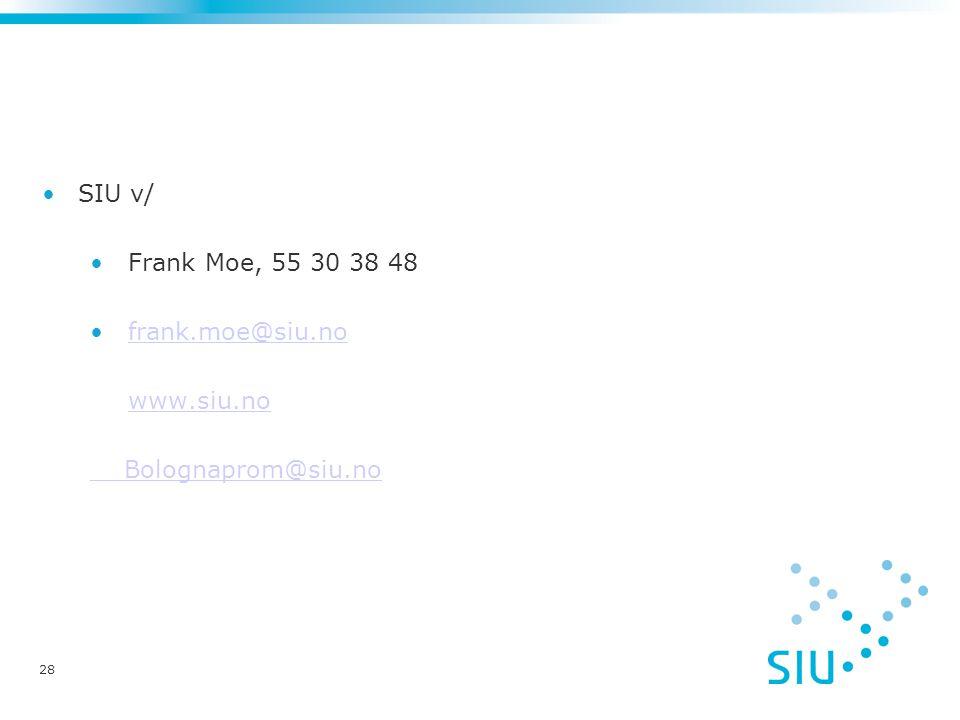 28 SIU v/ Frank Moe, 55 30 38 48 frank.moe@siu.no www.siu.no Bolognaprom@siu.no