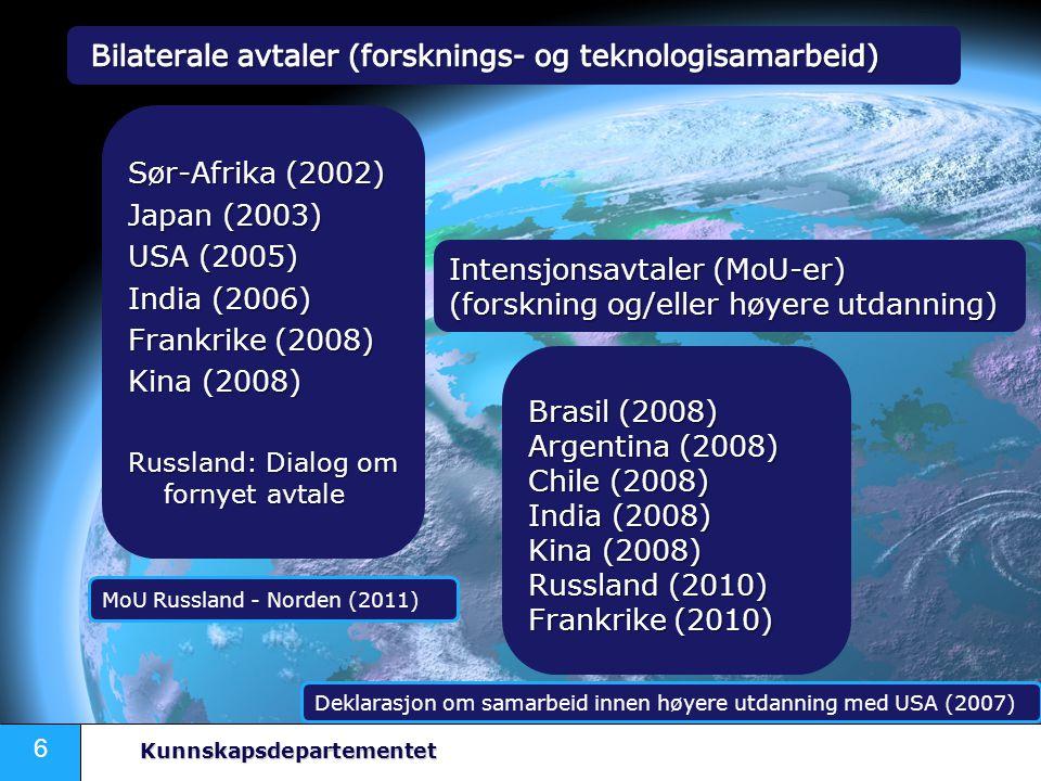 6 Kunnskapsdepartementet Sør-Afrika (2002) Japan (2003) USA (2005) India (2006) Frankrike (2008) Kina (2008) Russland: Dialog om fornyet avtale Intensjonsavtaler (MoU-er) (forskning og/eller høyere utdanning) Brasil (2008) Argentina (2008) Chile (2008) India (2008) Kina (2008) Russland (2010) Frankrike (2010) Deklarasjon om samarbeid innen høyere utdanning med USA (2007) MoU Russland - Norden (2011)