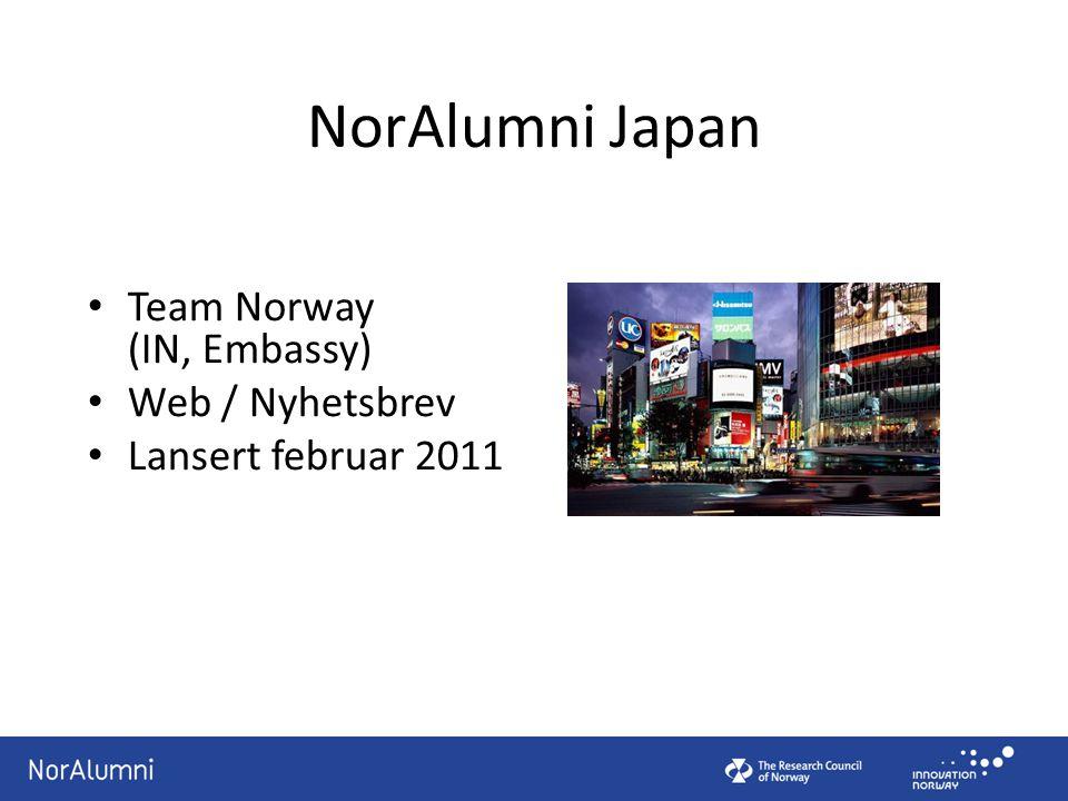 NorAlumni Japan Team Norway (IN, Embassy) Web / Nyhetsbrev Lansert februar 2011