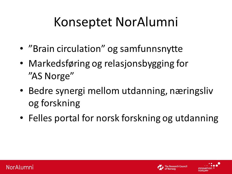 """Konseptet NorAlumni """"Brain circulation"""" og samfunnsnytte Markedsføring og relasjonsbygging for """"AS Norge"""" Bedre synergi mellom utdanning, næringsliv o"""