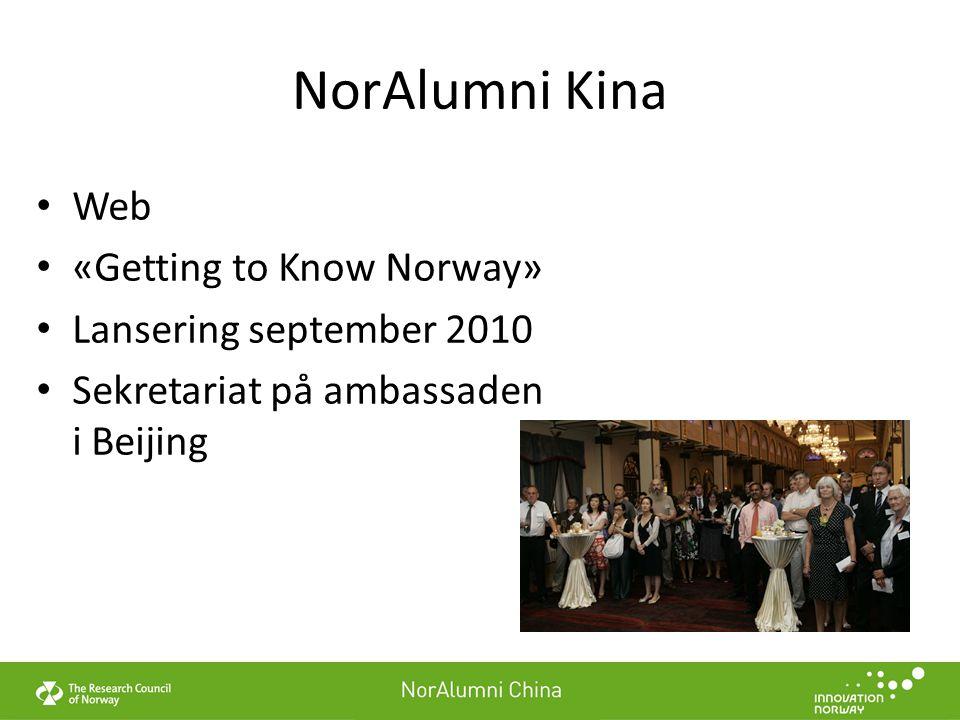 NorAlumni Kina Web «Getting to Know Norway» Lansering september 2010 Sekretariat på ambassaden i Beijing