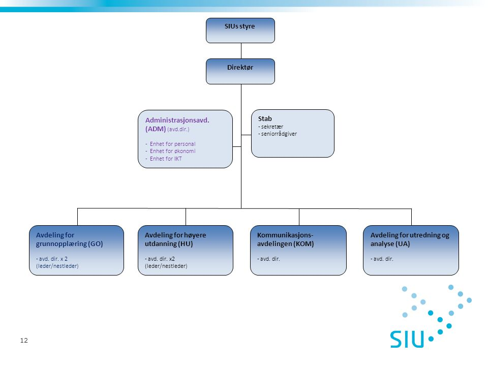 12 SIUs styre Direktør Avdeling for utredning og analyse (UA) - avd. dir. Kommunikasjons- avdelingen (KOM) - avd. dir. Avdeling for høyere utdanning (