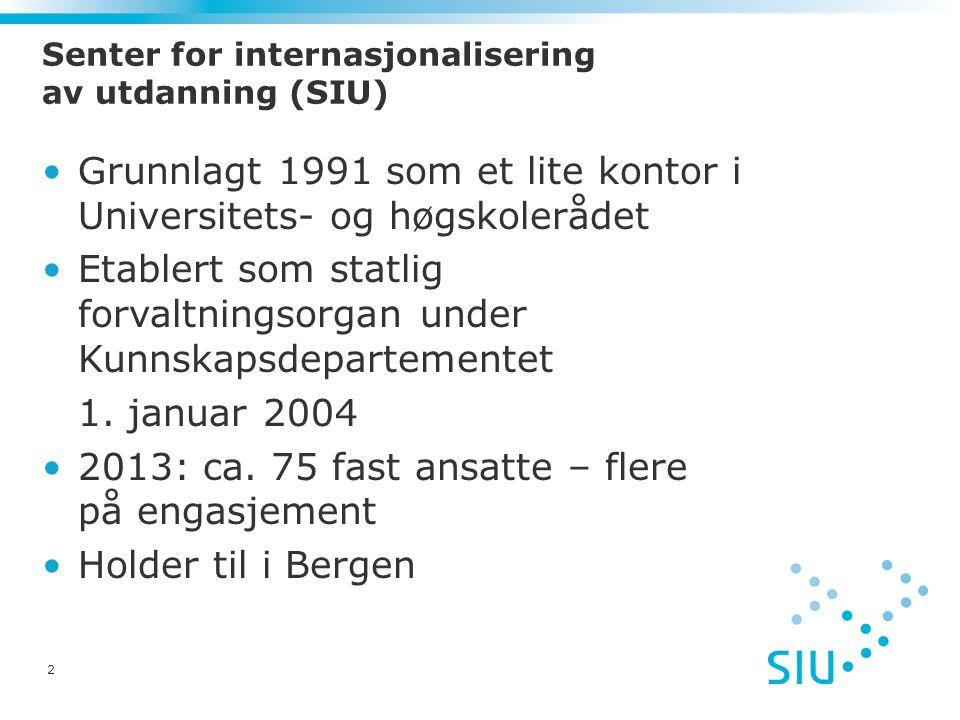 3 SIUs fem hovedoppgaver Nasjonalt programkontor, programforvaltning Profilere Norge som samarbeids- og studieland overfor utlandet Informasjon og kommunikasjon Kompetanseoppbygging for å fremme internasjonalt samarbeid i utdanningssektoren Rådgivning, utredning og servicefunksjon