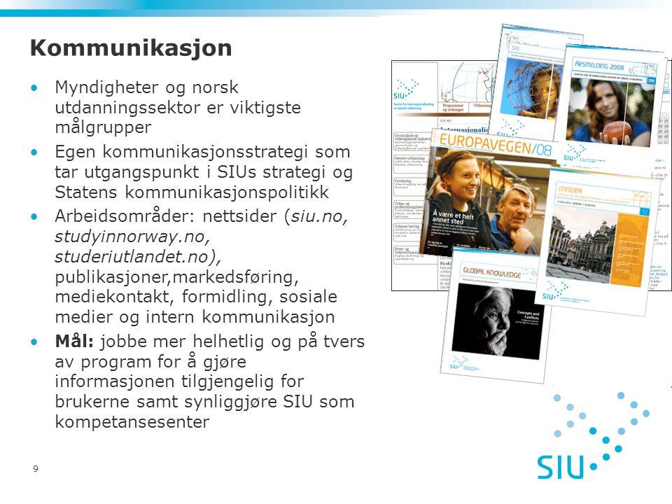 9 Kommunikasjon Myndigheter og norsk utdanningssektor er viktigste målgrupper Egen kommunikasjonsstrategi som tar utgangspunkt i SIUs strategi og Statens kommunikasjonspolitikk Arbeidsområder: nettsider (siu.no, studyinnorway.no, studeriutlandet.no), publikasjoner,markedsføring, mediekontakt, formidling, sosiale medier og intern kommunikasjon Mål: jobbe mer helhetlig og på tvers av program for å gjøre informasjonen tilgjengelig for brukerne samt synliggjøre SIU som kompetansesenter