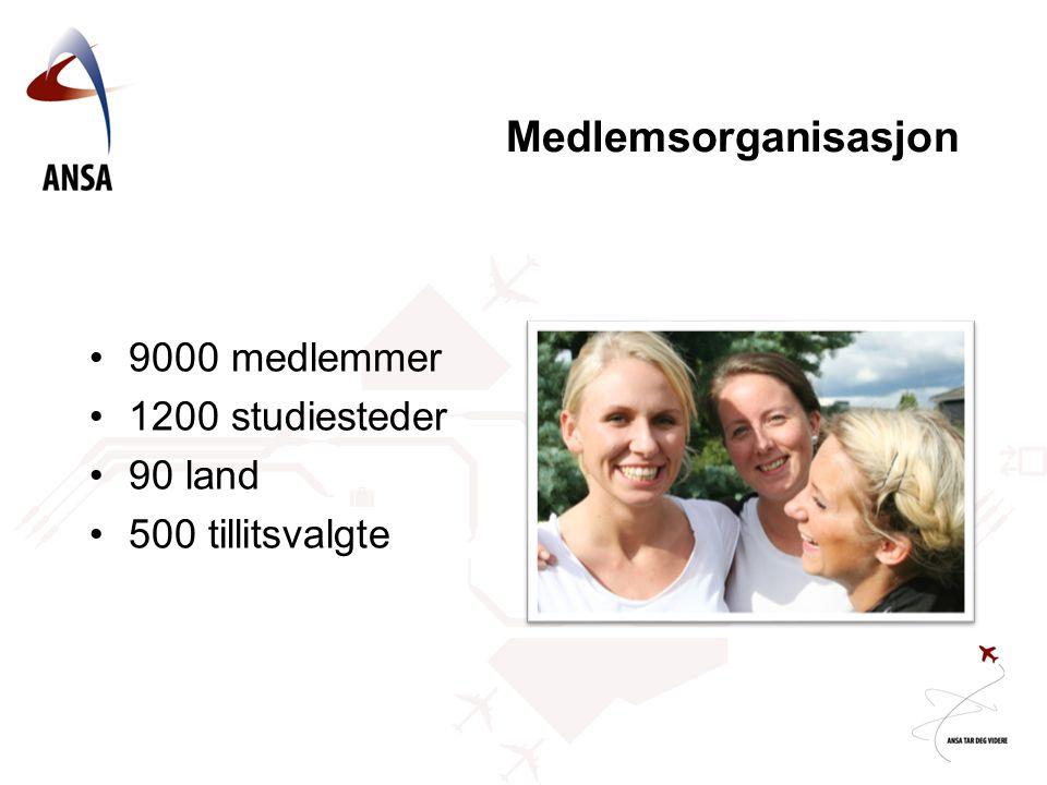 Medlemsorganisasjon 9000 medlemmer 1200 studiesteder 90 land 500 tillitsvalgte