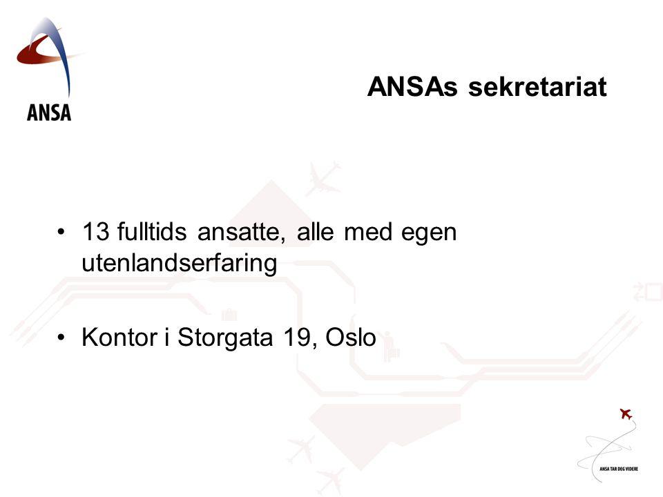 ANSAs sekretariat 13 fulltids ansatte, alle med egen utenlandserfaring Kontor i Storgata 19, Oslo