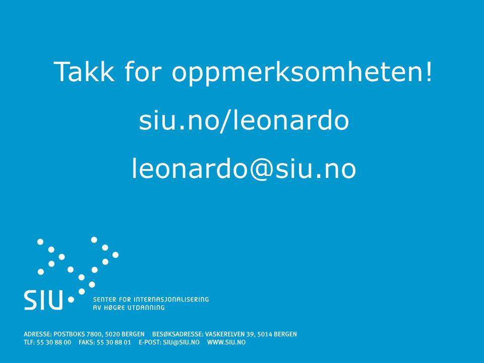 Takk for oppmerksomheten! siu.no/leonardo leonardo@siu.no