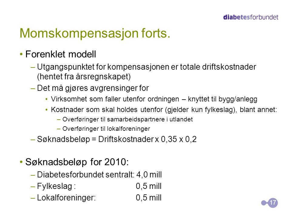 Momskompensasjon forts. Forenklet modell –Utgangspunktet for kompensasjonen er totale driftskostnader (hentet fra årsregnskapet) –Det må gjøres avgren