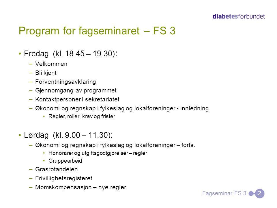 Program for fagseminaret – FS 3 Fredag (kl. 18.45 – 19.30) : –Velkommen –Bli kjent –Forventningsavklaring –Gjennomgang av programmet –Kontaktpersoner