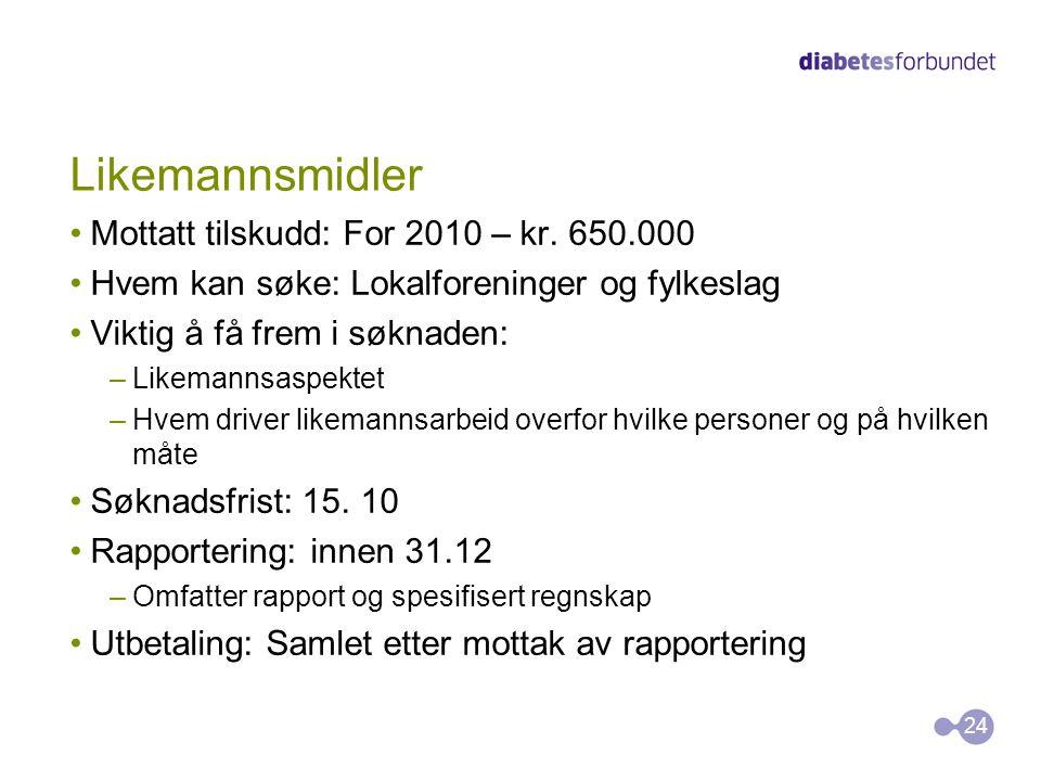 Likemannsmidler Mottatt tilskudd: For 2010 – kr. 650.000 Hvem kan søke: Lokalforeninger og fylkeslag Viktig å få frem i søknaden: –Likemannsaspektet –