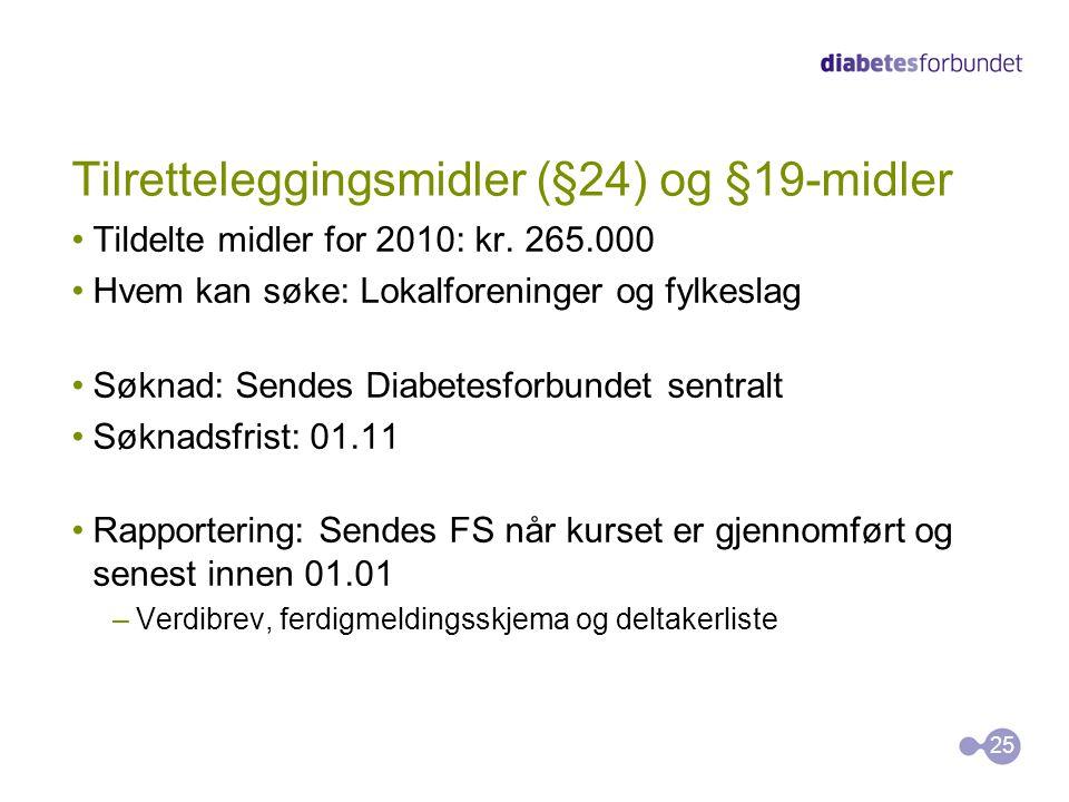 Tilretteleggingsmidler (§24) og §19-midler Tildelte midler for 2010: kr. 265.000 Hvem kan søke: Lokalforeninger og fylkeslag Søknad: Sendes Diabetesfo
