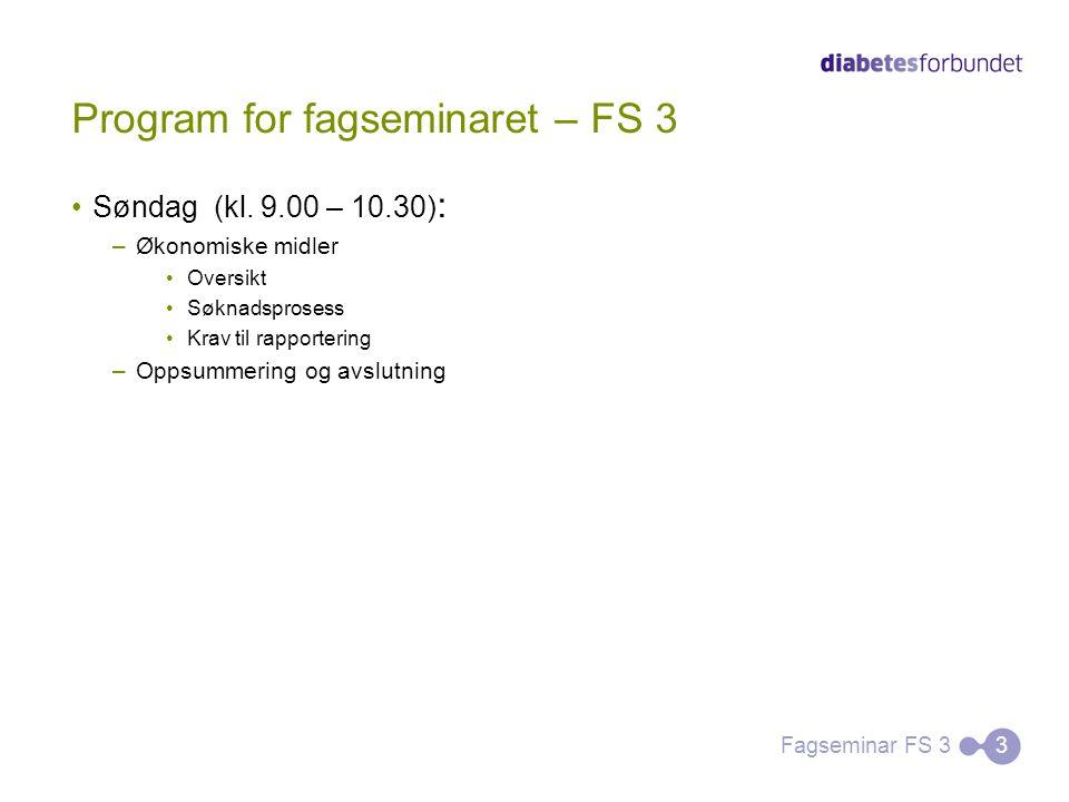 Program for fagseminaret – FS 3 Søndag (kl. 9.00 – 10.30) : –Økonomiske midler Oversikt Søknadsprosess Krav til rapportering –Oppsummering og avslutni