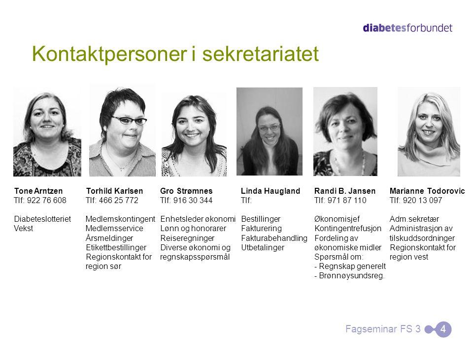 Kontaktpersoner i sekretariatet Fagseminar FS 34 Tone Arntzen Tlf: 922 76 608 Diabeteslotteriet Vekst Torhild Karlsen Tlf: 466 25 772 Medlemskontingen