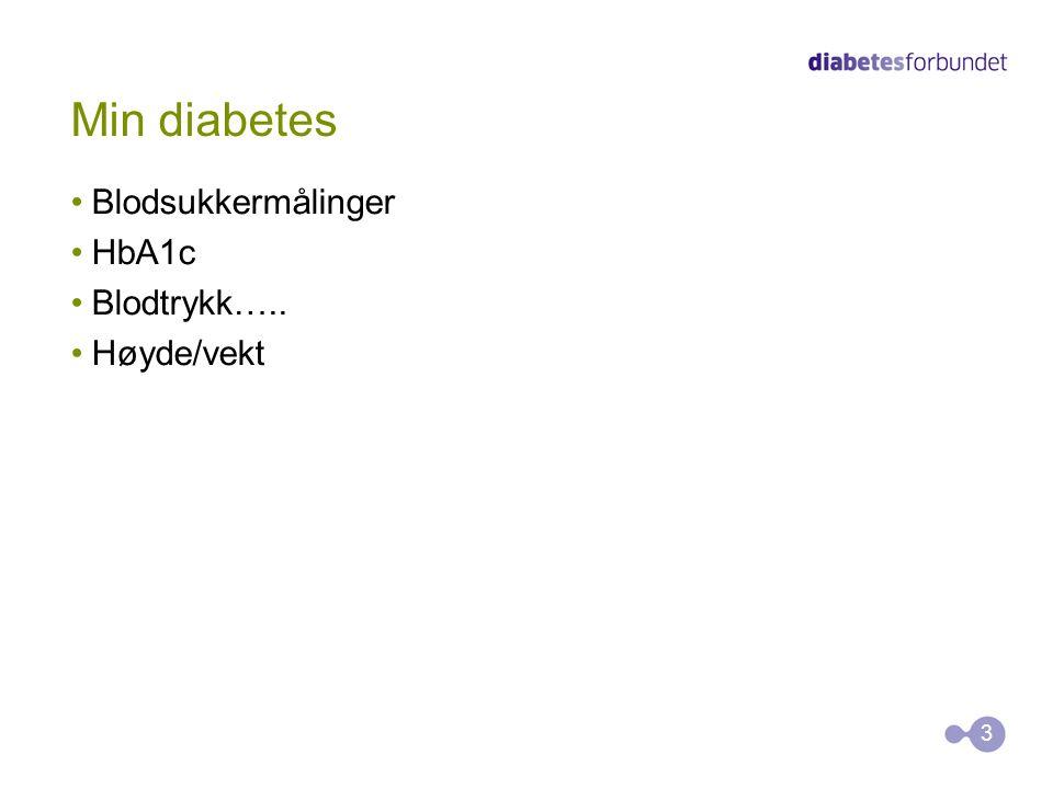 Min diabetes Blodsukkermålinger HbA1c Blodtrykk….. Høyde/vekt 3