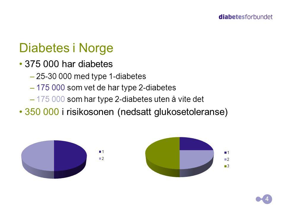 Diabetes i Norge 375 000 har diabetes –25-30 000 med type 1-diabetes –175 000 som vet de har type 2-diabetes –175 000 som har type 2-diabetes uten å v