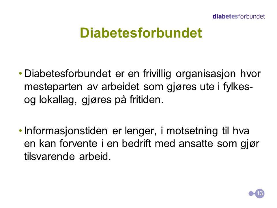 Diabetesforbundet Diabetesforbundet er en frivillig organisasjon hvor mesteparten av arbeidet som gjøres ute i fylkes- og lokallag, gjøres på fritiden