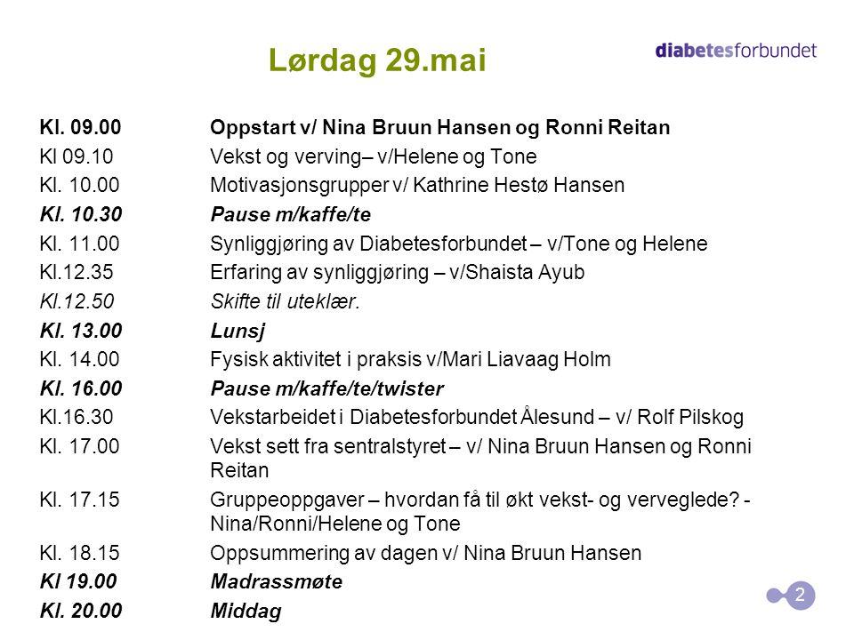 Lørdag 29.mai Kl. 09.00Oppstart v/ Nina Bruun Hansen og Ronni Reitan Kl 09.10Vekst og verving– v/Helene og Tone Kl. 10.00Motivasjonsgrupper v/ Kathrin