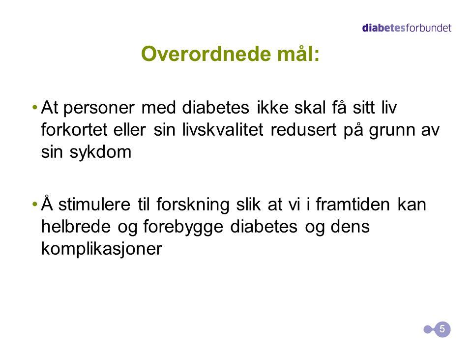 Overordnede mål: At personer med diabetes ikke skal få sitt liv forkortet eller sin livskvalitet redusert på grunn av sin sykdom Å stimulere til forsk