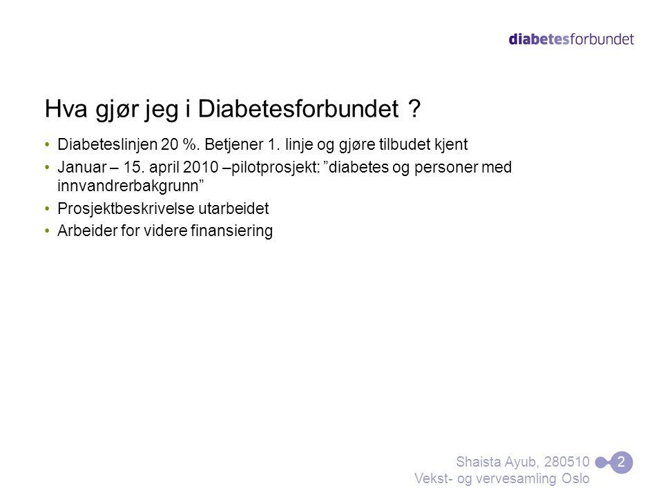 """Hva gjør jeg i Diabetesforbundet ? Diabeteslinjen 20 %. Betjener 1. linje og gjøre tilbudet kjent Januar – 15. april 2010 –pilotprosjekt: """"diabetes og"""