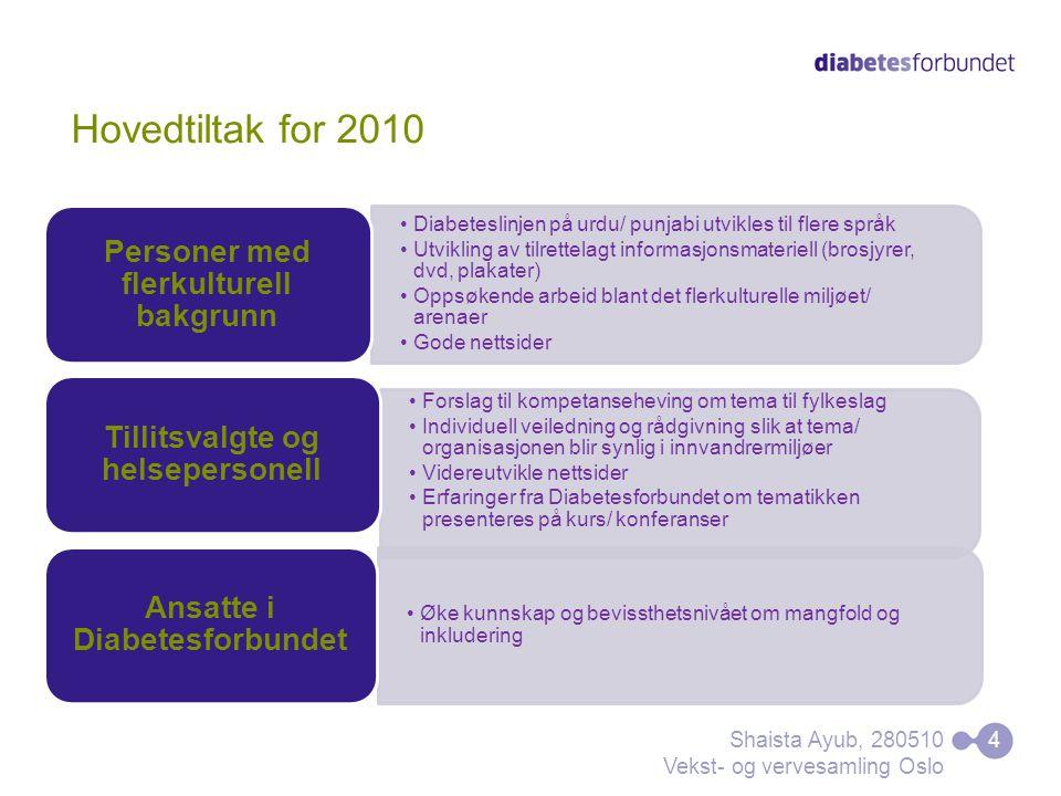Hovedtiltak for 2010 Diabeteslinjen på urdu/ punjabi utvikles til flere språk Utvikling av tilrettelagt informasjonsmateriell (brosjyrer, dvd, plakate