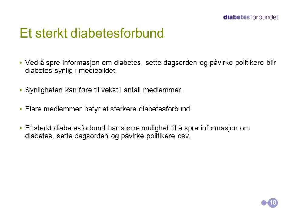 Et sterkt diabetesforbund 10 Ved å spre informasjon om diabetes, sette dagsorden og påvirke politikere blir diabetes synlig i mediebildet.