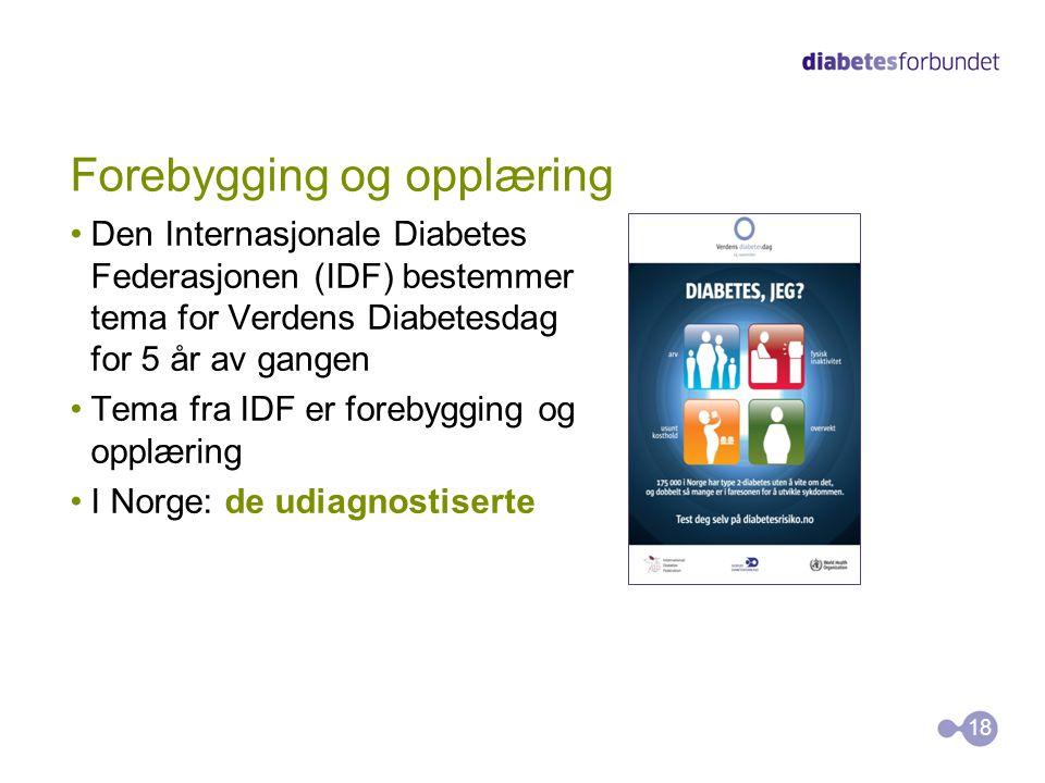 Forebygging og opplæring Den Internasjonale Diabetes Federasjonen (IDF) bestemmer tema for Verdens Diabetesdag for 5 år av gangen Tema fra IDF er forebygging og opplæring I Norge: de udiagnostiserte 18
