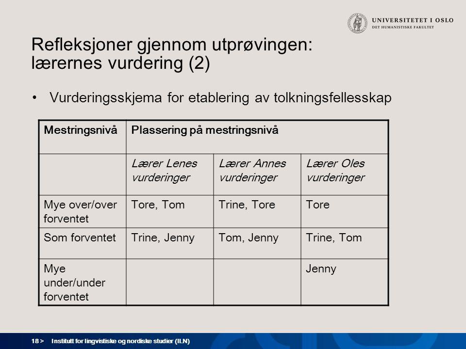 18 > Institutt for lingvistiske og nordiske studier (ILN) Refleksjoner gjennom utprøvingen: lærernes vurdering (2) Vurderingsskjema for etablering av