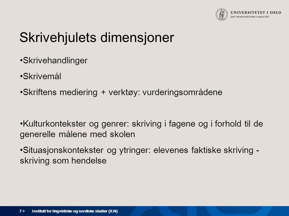 8 > Vurderingsområder (skriftens mediering + verktøy) Kommunikasjon Innhold Tekstoppbygging Språkbruk Rettskriving og tegnsetting Bruk av skriftmediet Institutt for lingvistiske og nordiske studier (ILN)